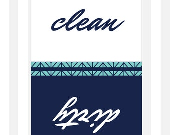 "Navy Clean Dirty Dishwasher Magnet - Classic - 2.5"" x 3.5"" - Christmas Stocking Stuffer"