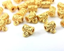 20pcs Gold Tube Charm Holder, Tiny Barrel Charm Holder, Matt Gold Bail Link Charm, Spacer Beads, Jewelry Findings, 24k Gold Spacers