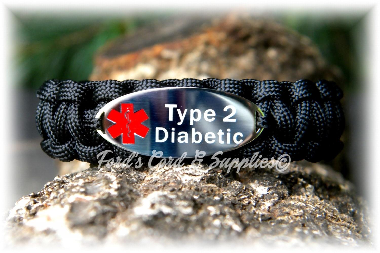 type 2 diabetic alert bracelet by fordscordandsupplies