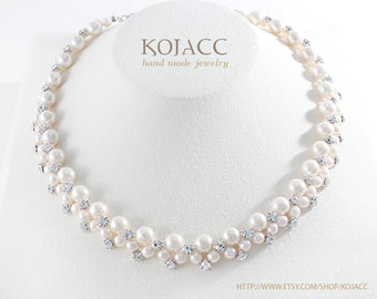 """Tight rounded pearl necklace 16 """" / gorgeous style / for wedding and social event / for gift"""