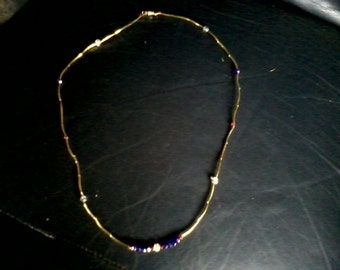 Handmade 27 Inch Strand Red, White, Blue, and Gold Crystal Necklace
