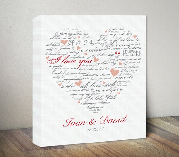 Heart Canvas Art Print. Customized Wedding Anniversary Gift. I Love ...