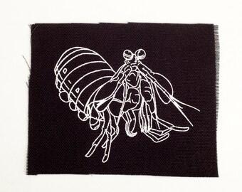 Mantis Shrimp Patch - Screen Print on Canvas