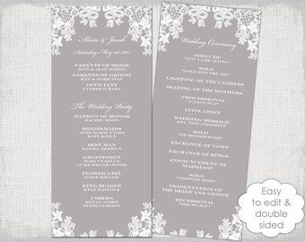 """Wedding program template """"Floral Lace"""" DIY Mercury gray order of ceremony printable / order of day YOU EDIT instant digital Word download"""