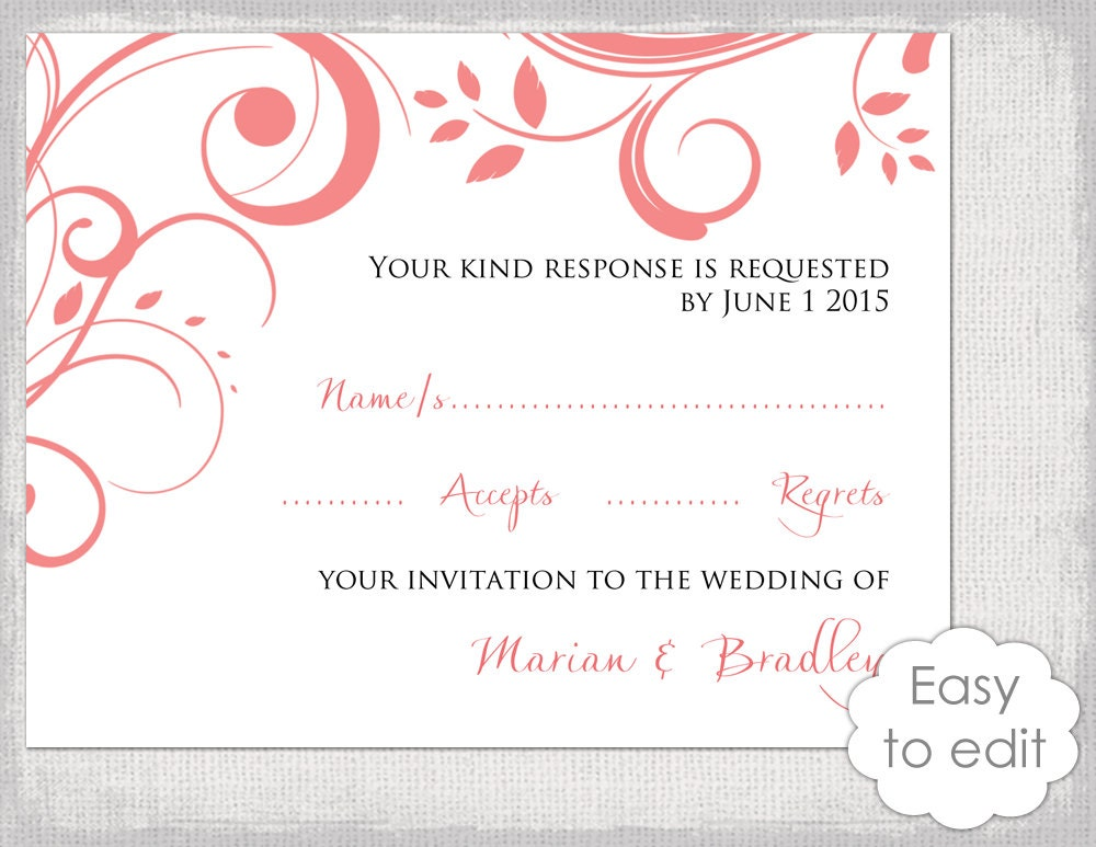 Wedding RSVP card template DIY Coral Scroll – Rsvp Card Template Word