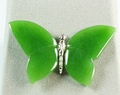 Jade butterfly pin,Jade Butterfly Brooch,Butterfly Pin in Handmade,Jade and Silver Butterfly Pin,Jade Brooch,Butterfly Pin.