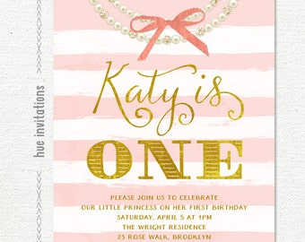 1st birthday invitation for baby girl, blush pink bow stripes and gold girls pearl necklace invitation, printable digital invitation