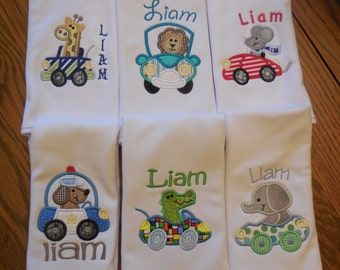 Burp cloths, Burp Cloths with 'Animal in car' applique and name