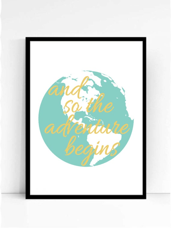 And So The Adventure Begins Travel Print Printable Wall Art