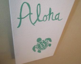 Aloha Sign, Beach Sign, Sea Turtle Sign, Ocean Sign, Sea Sign, Beach Decor, Sea Turtle Decor, Ocean Decor, Sea Decor