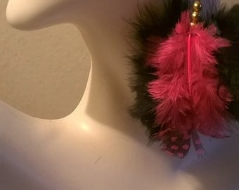 Pink feather fur earrings