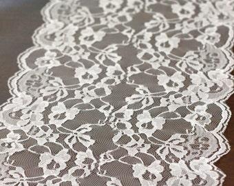 "Scalloped Lace Runner - White Lace Runner - Wedding Lace Runner - 9"" Wide Lace Runner - Table Runner with beautiful Scalloped Edges"