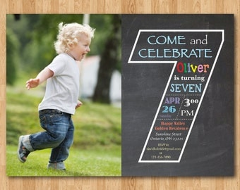 Chalkboard Seventh Birthday Invitation with Picture. 7th Birthday Invite with Photo. Baby Boy or Girl Birthday Party. Printable Digital DIY