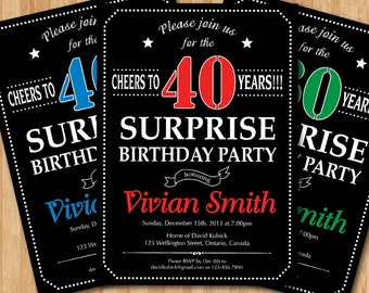 Surprise 40th birthday invitation. 30th 50th 60th 70th 80th 90th Any age. Red Blue Green Purple Yellow Pink any color. Printable digital.