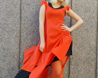 Orange Double Layer Dress / Cotton Layered Dress / Asymmetrical Layered Dress TDK116