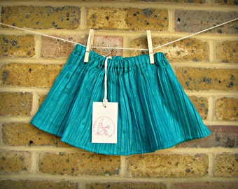 SALE! Green/teal  colour pleated baby and toddler skirt 0-3, 18-24 months