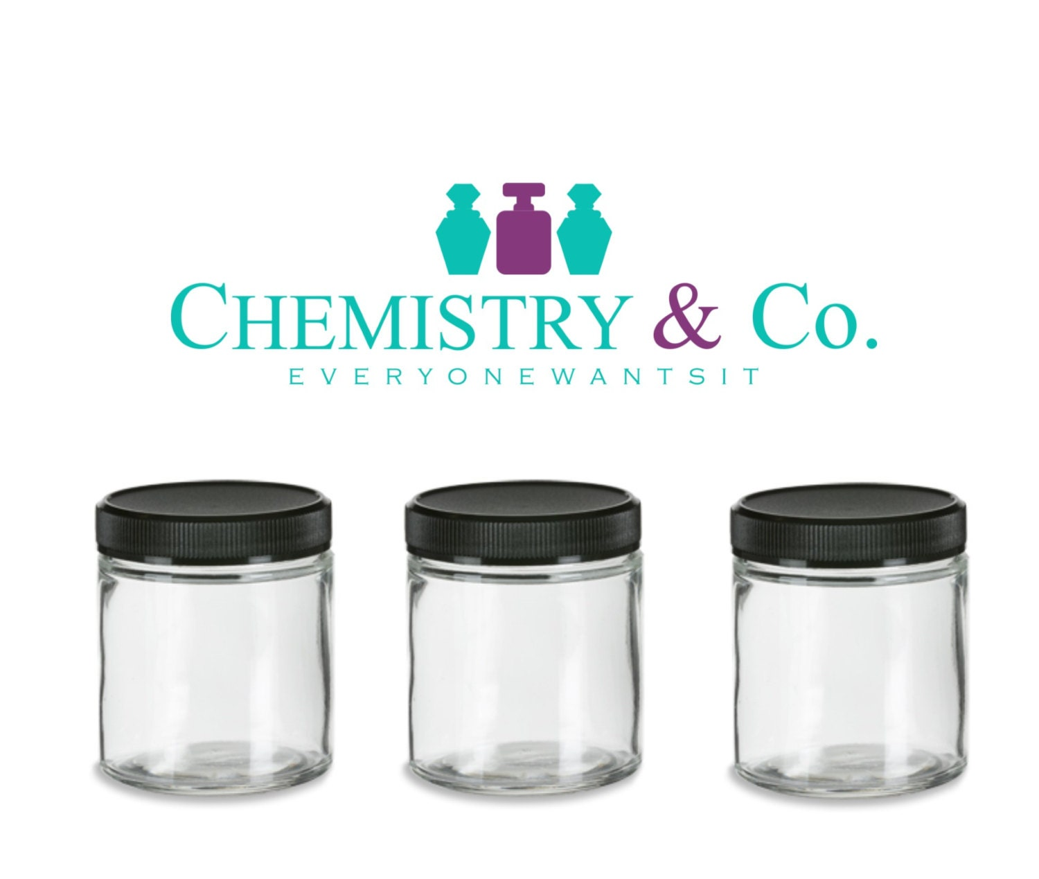 6 clear glass jars 4 oz 120 ml w black caps for by chemistryco. Black Bedroom Furniture Sets. Home Design Ideas
