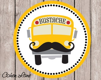 Instant Download Printable Back To School Tshirt Transfer Design. School Bus Iron On. Printable Back To School Truck. Mustache Bus.