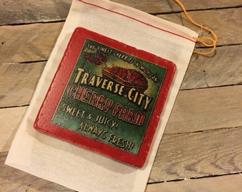 Traverse City Cherry Farm coaster