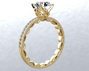 Diamond Eternity Engagement Ring 14kt Yellow Gold Ring 1ct Forever One Moissanite & Genuine Diamonds Sides Modern Chic Love Ring