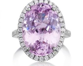 Oval Kunzite Cocktail Ring 15.0ct Genuine Rare Kunzite Oval Purple Pink Kunzite Genuine Diamonds Dinner Ring Pristine Custom Rings
