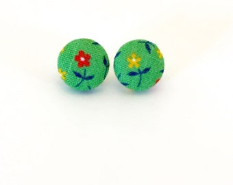 Fabric Covered Button Earrings
