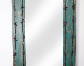Old Ranch Turquoise Rustic Barbed Wire Mirror-Mexican-30x36 in-Western-Lodge-Wood-Wall-Distressed Turquoise-Vanity Bathroom Mirror