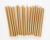 """5"""" Gold Birthday Candles (16) Tall Metallic Tapers Party Candles Cake Decorations Golden Anniversary Wedding"""