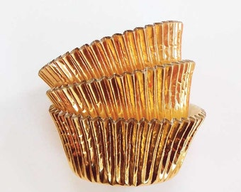 Gold Foil Cupcake Liners (45) Metallic Cake Cups Baking Supplies