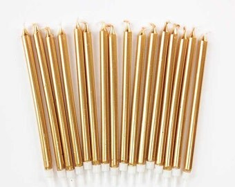 "5"" Gold Birthday Candles, Set of 16 Gold Tapers, Tall Gold Party Candles, Gold Cake Toppers"