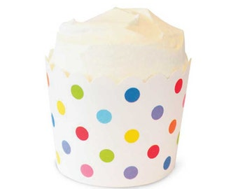 Cupcake Baking Cups, Cupcake Liners, Rainbow Polka Dot Candy Cups, 25 Cupcake Liners, Bake Cups, Ice Cream Cups