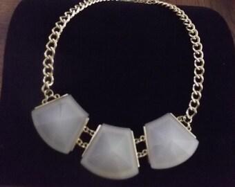 Druzy statement bib necklace gold tone