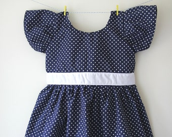 Girls navy dress with white spots / dots, spotty dress, dotty dress, girls wedding outfit, baby wedding outfit, toddler dress, baby dress