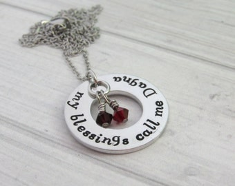 Personalized hand stamped necklace, my blessings call me mom, gift for mom