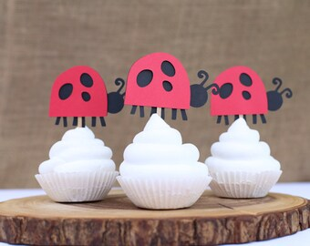 Little Bug Lady Bug - Cupcake Toppers - Set of 12