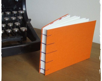 Coptic bound write book A6-Orange linen