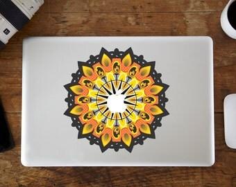 Yellow Mandala Flower MacBook Decal