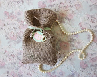 Tea party burlap favor pouch