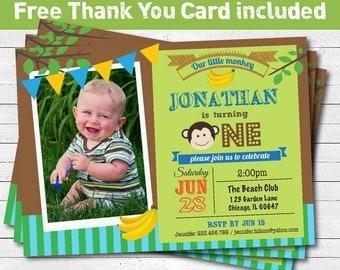 Monkey birthday party invitation. Baby boy / girl 1st first birthday invitation. Jungle monkey photo card printable invitation. KB037