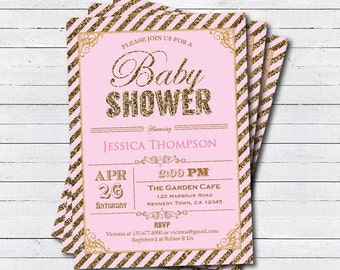 Glitter pink and gold baby girl shower invitation. Sparkling sequin baby shower printable digital invite B085