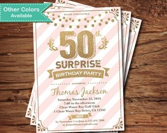 Surprise 50th birthday invitation. Pink and gold 30th 40th 50th 60th 70th 80th 90th 100th birthday printable digital invite AB108