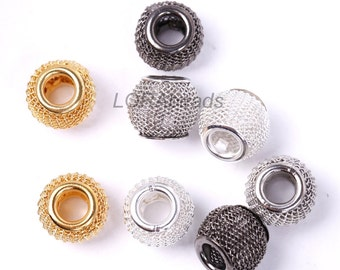 20pcs Silver/Golden/Black Mesh Alloy Spacer Beads Basketball Wives Earrings 12mm