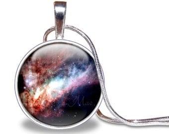 Nebula Necklace, Nebula Pendant, Galaxy Jewelry, Galaxy Necklace, Space Necklace, Omega Nebula, Outer Space Jewelry, Colorful, Nasa,