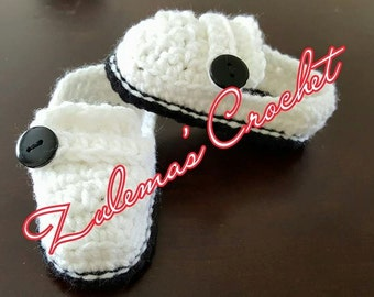 Crochet Baby Button Loafer Slippers, Crochet Button Loafer Slippers, Loafer Slippers, Crochet Baby