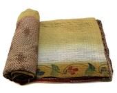 Vintage Throw, Kantha Quilt, Indian Handmade Bedspread Reversible Bedding Bohemian Quilt Cotton Duvet Comforter B982