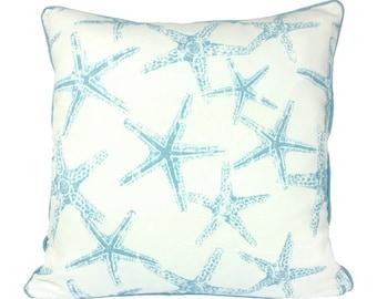 Coastal Blue Starfish Cushion Cover with Piping