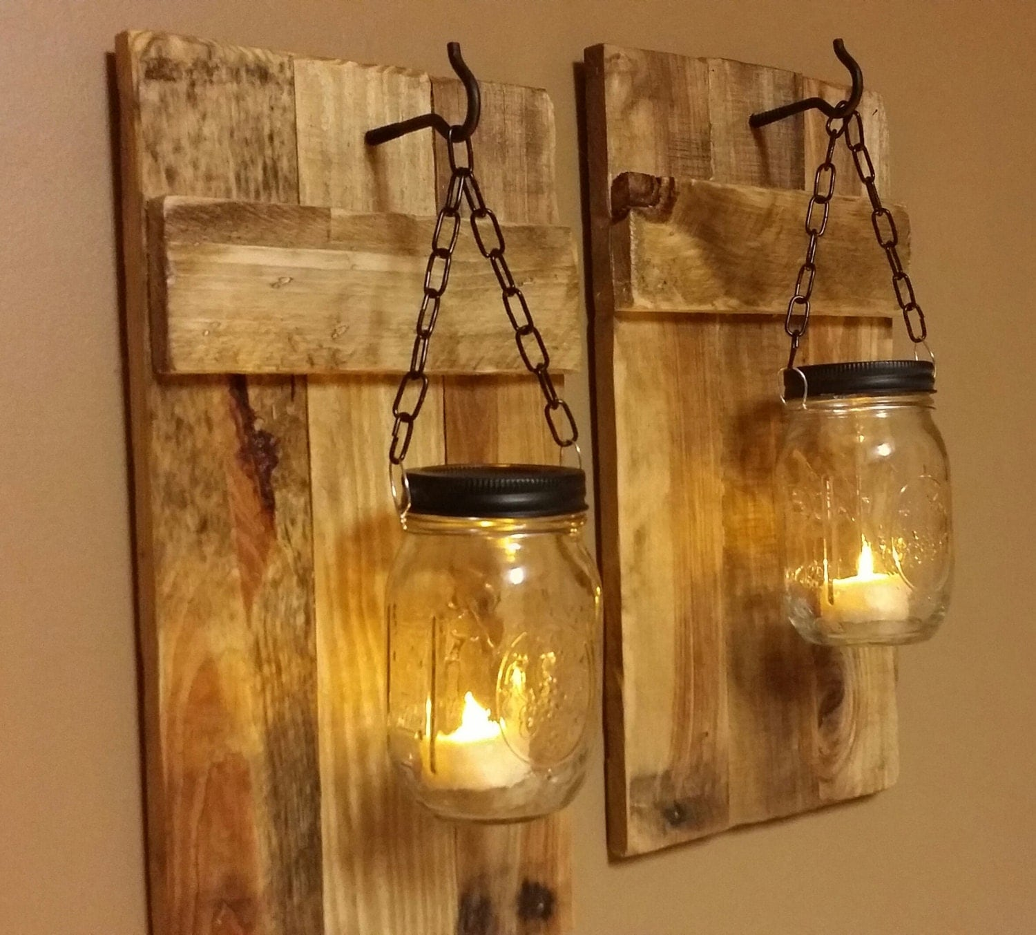 Like this item? - Mason Jar Candle Holder Rustic Decor Set Of 2 Rustic