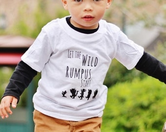 Where the wild things are, let the wild rumpus start toddler/baby tee.