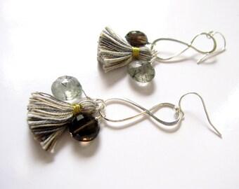 Tassel Earrings, Smoky Quartz Coins, Rutilated Quartz Briolettes, Infinity Earrings