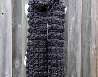 Long winter fashion scarf, soft long scarf, chunky knit scarf in soft charcoal grey, cozy softness, knit scarf available in many colors